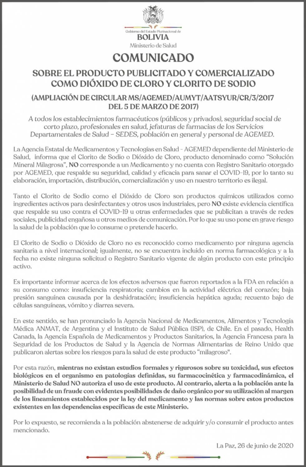 Ministerio de Salud advierte que Dióxido de Cloro no debe ser ...